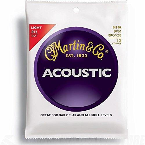 Martin M190 80/20 Bronze 12-String Acoustic Guitar Strings, Light from Martin