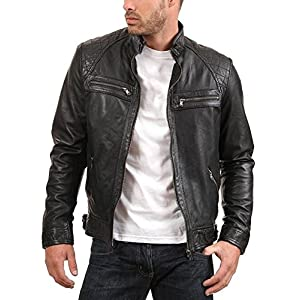 Urban Leather Factory Men's ENZO Black Genuine Lambskin Vintage Leather Jacket M Black