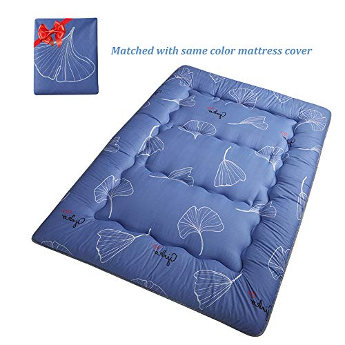 (Boys Girls Japanese Floor Mattress Futon Mattress Tatami Mat, Kids Sleeping Pad Floor Lounger Pillow Bed, Light Blue Leaf Printed Bed Mattress Pad for Student Dorm Thickness:8CM, Queen Size)