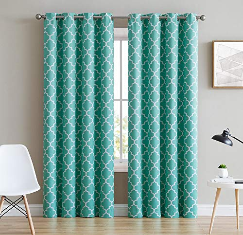 HLC.ME Lattice Print Thermal Insulated Blackout Room Darkening Window Drapery Curtains for Bedroom - Mint Green - 52