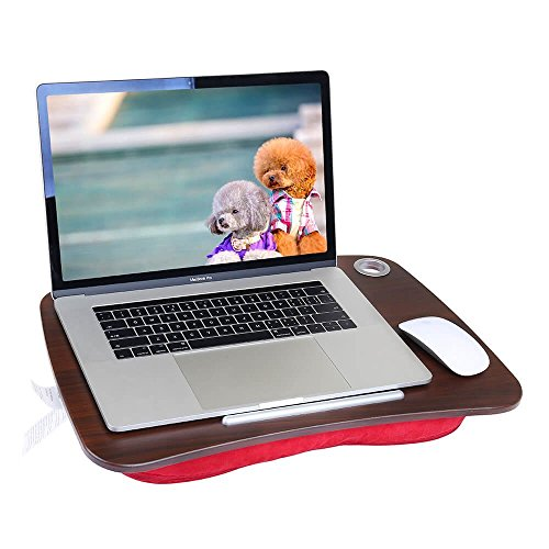 Lap Desk Multi-Function Knee Pad for Laptop MacBook iPad Tablet Comfortable Cushion- Round (red 19x4x14inch) by LIMAM