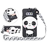 Solid Color Matte Silicone Case for Samsung Galaxy S10 with 3D Panda Zipper Wallet and Lanyard Strap, DasKAn Cute Cartoon Animal Design Soft Shockproof Protective Cover,Black