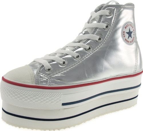 Sneakers 7 Maxstar Shoes TC Holes CN9 High Platform Silver Top Zipper Double 8wgaq5rw