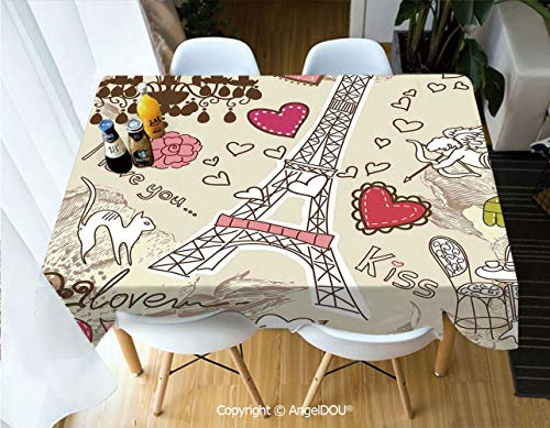 AngelDOU Modern Tablecloth Rectangle Table Cover Doodles Illustration of Eiffel Tower Hearts Chandelier Flower Love Themed Vintage Artwork for Camping Picnic Dinner Party Decor,W55xL55(inch)