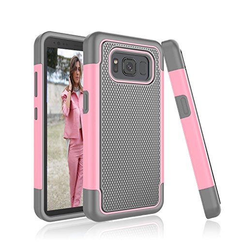Galaxy S8 Active Case,Tinysaturn [YSaturn Series] [Fresh Pink] Shock Absorbing Rubber Plastic Scratch-Proof Defender Bumper Rugged Hard [Drop Protection] Cover Case For Samsung S8 Active 2017 Release