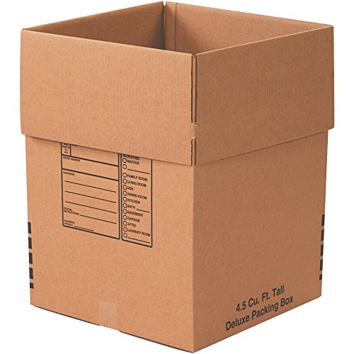 Large Deluxe Moving Boxes (Pack of 6), Write-on Panel, Fragile Warning and This Side Up Arrows