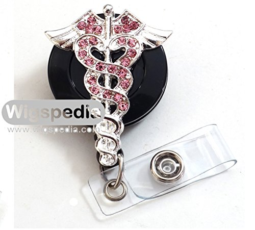 WigsPedia Medical RN Doctor Nurse Rhinestone Retractable Badge Reel/ ID Badge Holder / Brooch / Pendant / Id Badge Holder (Pink medical Caduceus symbol)