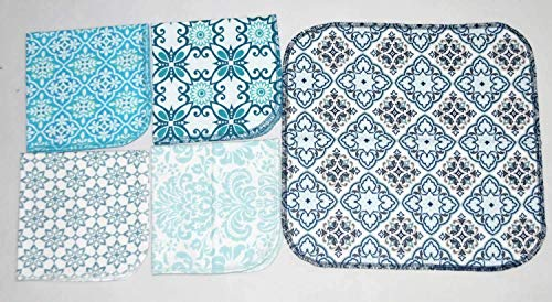 1 Ply Moroccan Tile Flannel Washable Lunchbox Napkins 12x12 inches 5 Pack - Little Wipes (R) Flannel