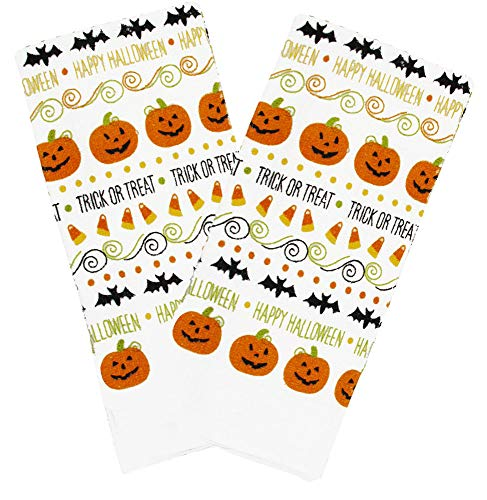 Halloween Pumpkins Bats Candy Corn Orange and Black Kitchen Decorator Towel Set of 2 ()