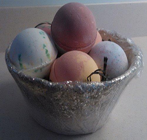 Panier de Pâques de mes o ' bain luxuriante Ultra XL Bombs(6) Spa SET-meilleur cadeau idée-USA à la main-bio-naturel-karité Butter| Coconut| Essential| Huile de jojoba pour hydrater huile d'essentielle libre sèche peau + livre !