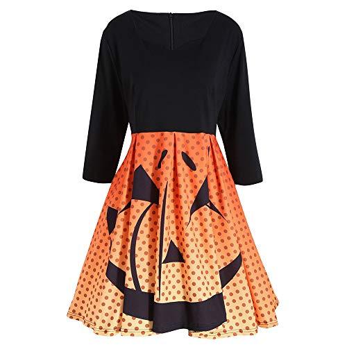 kaifongfu Loose Dress,Women Three Quarter Sleeves Halloween Party Pumpkin Print Mini Dresses(Orange,XXXXXL)