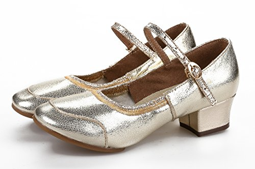 Honeystore Classic Womens Cow Leather Salsa Latin Dance Shoes Mary Jane Gold bnJVYQKy8