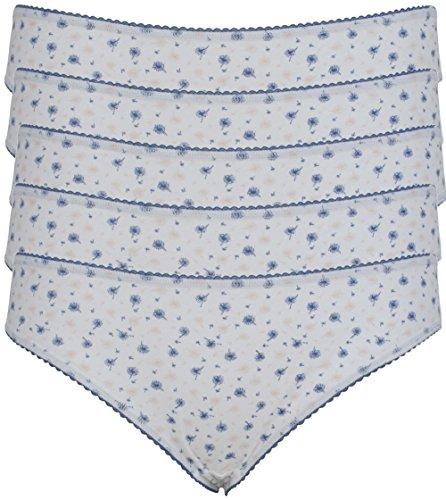 Ex Store - Juego de bragas, estilo biquini, algodón 5 Pack White Flower Print