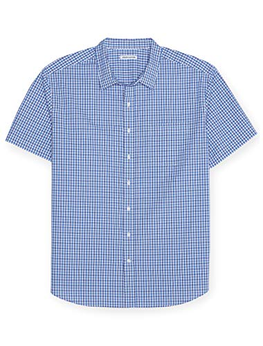 (Amazon Essentials Men's Big & Tall Short-Sleeve Plaid Shirt fit by DXL, Blue,)