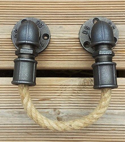 Porte serviette industriel en fonte noire et corde en chanvre / industrial towel holder in black iron cast with rope in hemp