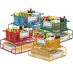 Really Good Stuff Supply Caddy with Label Holders - Set Of 4 Multicolor