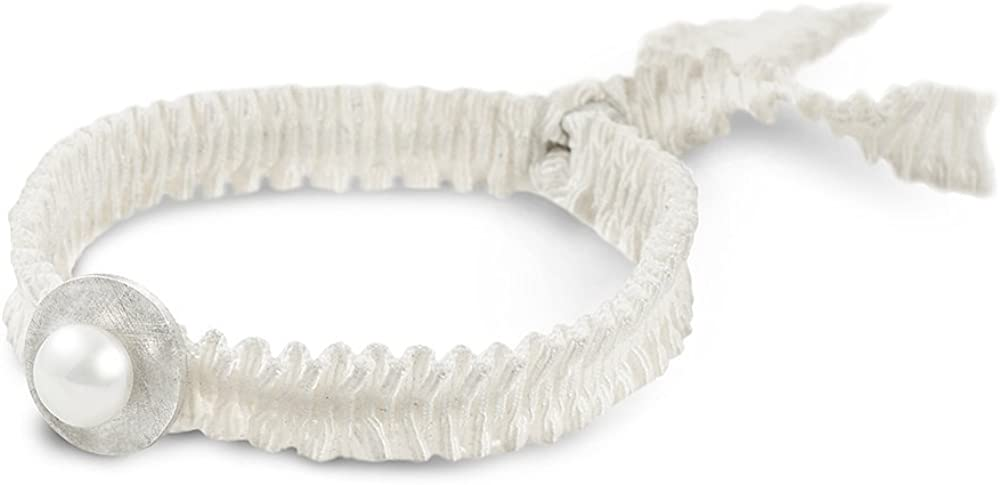 Espai de Joies - Pulsera FEELGOOD BLANCA - Joya de diseño - Pulsera de plata 925 diseño redondo con perla cultivada