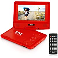 Upgraded Pyle 7 Portable DVD Player, Travel, Built-in Rechargeable Battery, USB/SD Card Memory Readers, Headphone Jack, Includes Wireless Remote Control, Car Charger, Travel Bag, Red (PDV71RD)
