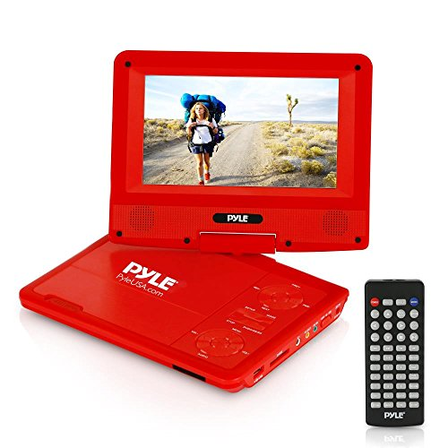 Upgraded Pyle 7'' Portable DVD Player, Travel, Built-in Rechargeable Battery, USB/SD Card Memory Readers, Headphone Jack, Includes Wireless Remote Control, Car Charger, Travel Bag, Red (PDV71RD) by Pyle