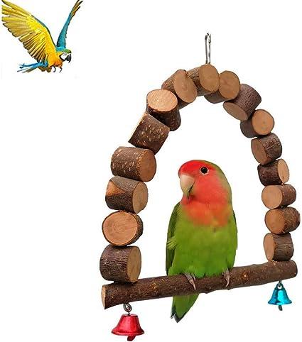 Pet Pappagallo Uccelli Giocattoli Amaca Altalena per uccellino Parrot Sparrow Canarino Coloratissimi giocattoli Parrocchetto Pet Trainning Ladders Legno naturale Giocattolo resistente al morso