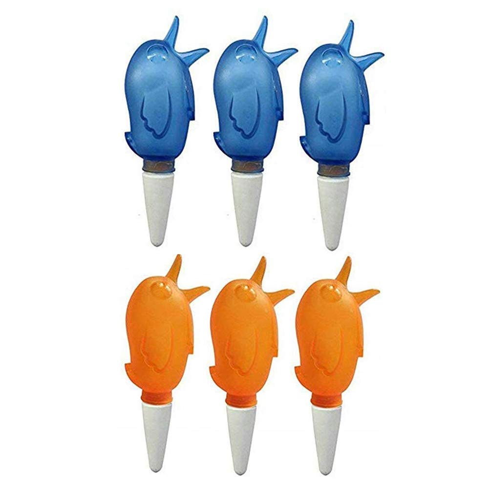 LEERYAAY 6Pcs Automatic Plant Waterers Bird Shape Ceramic Vacation Plant Waterer Device OrangeBlue