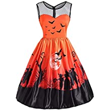 Realdo Womens Halloween Print Dresses, Clearance Sale Retro Pleated O-Neck Sleeveless Zipper Back Swing Dress
