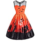 AMSKY Chiffon Dresses for Women Plus Size,Women's Vintage O-Neck Print Sleeveless Halloween Party Swing Dress,Fashion Hoodies & Sweatshirts > Fashion Hoodies,Orange,L