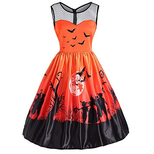 NRUTUP Outlet Women's Halloween Vintage O-Neck Bat Print Sleeveless Halloween Party Swing Dress New!(Orange,S) -