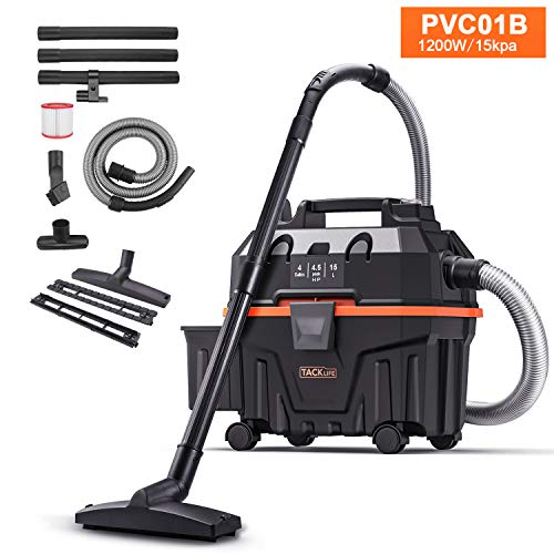 TACKLIFE Advanced Wet Dry Vacuum, 1200W Pure Copper Motor, 120V 4.5Gal Capacity 16.4ft Wire 5ft Hose, Multiple Accessories, Wet/Dry/Blowing 3 in 1 Function, Suitable for Indoor and Outdoor PVC01B