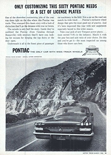 1960 Vintage Magazine Advertisement PONTIAC, ONLY CUSTOMIZING THIS SIXTY PONTIAC NEEDS IS A SET OF LICENSE PLATES (Pontiac Magazine)