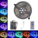 Relohas Led Strip Light - 16.4ft Waterproof LED Flexible Light - 150 Units SMD 5050 LEDs - 12V DC RGB Led Strip Kits With 44 Key IR Remote Controller DIY for Christmas Holiday Home Kitchen Car Decoration