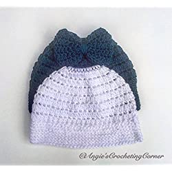 Crochet Messy Bun Beanie, Bow Messy Bun Beanie, Messy Bun Hat, Custom Order, Adult, Preteen, Child Messy Bun Hat, Handmade