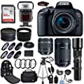 Canon EOS Rebel T7i DSLR Camera + 18-55mm is STM Lens + Canon 55-250mm Lens & 500mm f/8.0 Lens + 0.43 WideAngle Lens + 2.2 Telephoto Lens + Macro Close-ups + Accessories (Special Kit)