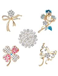 Wedding Bridal Clear Crystal Pearl Brooches Pins Pack of 5
