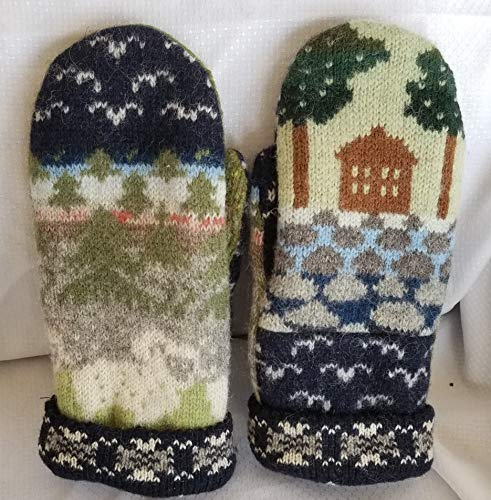 Icelandic Design wool sweater mittens, recycled, felted, lined, sheep, landscape, house, trees, Navy, mountains, green, blue, M