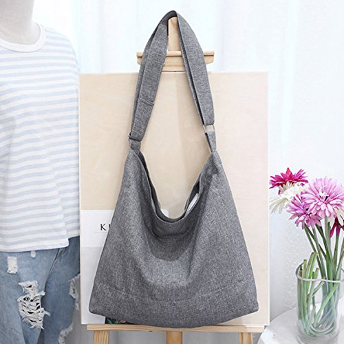 Fanspack Women's Canvas Hobo Handbags Simple Casual Top Handle Tote Bag Crossbody Shoulder Bag Shopping Work Bag by Fanspack (Image #3)