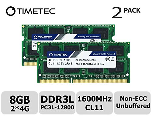 Timetec Hynix IC 8GB Kit(2x4GB) DDR3L 1600MHz PC3L-12800 Non ECC Unbuffered 1.35V CL11 2Rx8 Dual Rank 204 Pin SODIMM Laptop Notebook Computer Memory Ram Module Upgrade(8GB Kit(2x4GB)