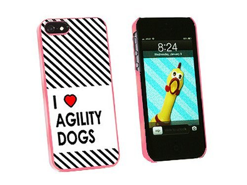 Graphics and More I Love Heart Agility Dogs Snap-On Hard Protective Case for iPhone 5/5s - Non-Retail Packaging - Pink
