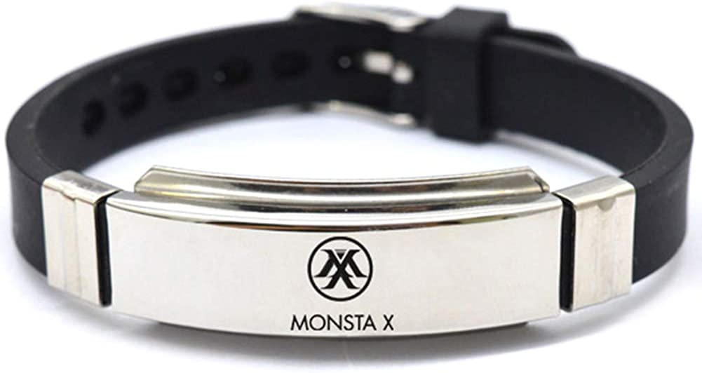 Yovvin Kpop BTS Bangtan Boys EXO Blackpink GOT7 Seventeen Bracelet en Silicone Acier Inoxydable Cadeau pour A.R.M.Y