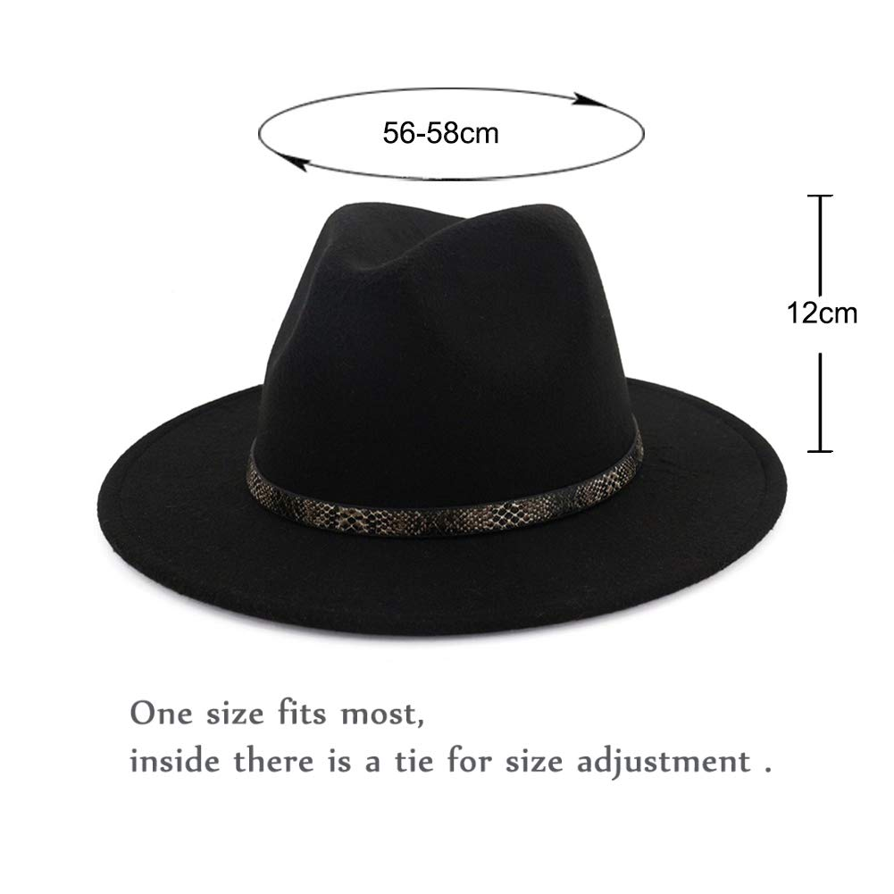 95c4c2991584e Vim Tree001 Men   Women s Wide Brim Fedora Hat with Band Unisex Felt Panama  Cap  Amazon.co.uk  Clothing