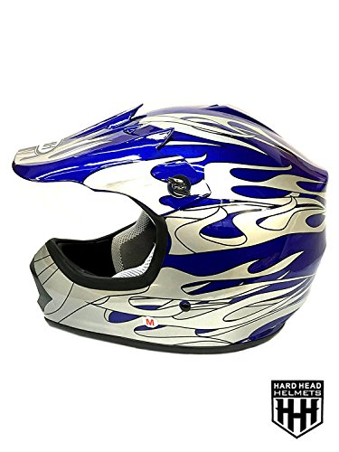 SmartDealsNow YOUTH DOT Helmet Blue/Flame Color Dirt Bike Style Youth Model (Small)