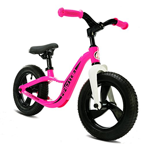 HAPTOO Balance Bike, Kid Glide Bike 12 inch [Ages 1.5 to 6 Years] No Pedal [Foldable Handlebars] Lightweight Outdoor Sport Walking Training Bicycle for Girls Boys Toddler (Pink)