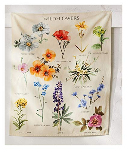 Zcdzjxb Plant Wildflower Tapestry Wall Opknoping Home Decoration (Color : 1, Size : 95x73cm)