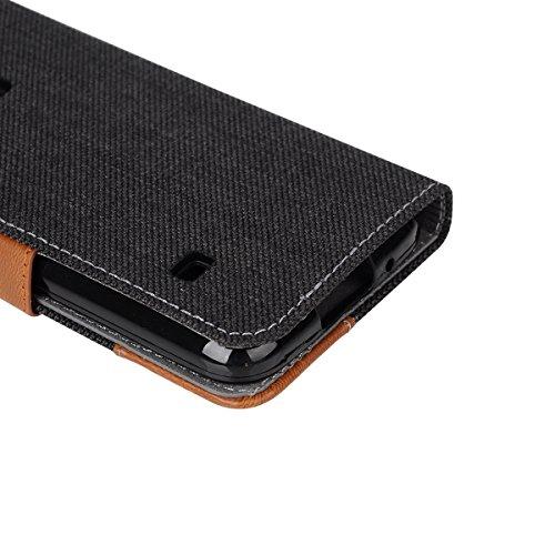 Funda Samsung Galaxy S5 Mini Billetera Carcasa, Forhouse Patrón de Mezclilla Ligero Flip Prima PU Cuero Wallet Caso con [Kickstand][Ranuras para Tarjetas y Caja][Cierre Magnético] Delgado Fit Anti-Ara Negro