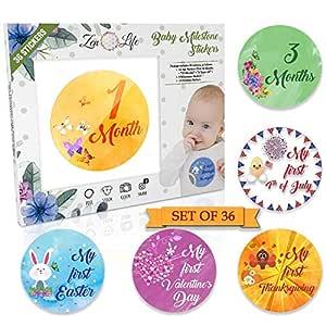 Amazon.com: Pegatinas de cumpleaños para bebés con diseño de ...