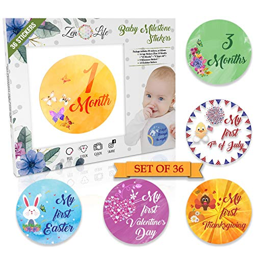 Premium Baby Monthly Stickers – 36 Pack 14 Baby Age Stickers 9 Baby Milestone Stickers 13 Baby Holiday Stickers Size Adjusted to Baby s Growth Cycle Perfect Baby Shower Gift Gender Neutral