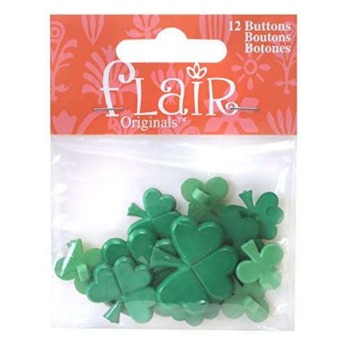 Blumenthal Lansing Buttons, Shamrock Shaped, Great For Sewing, Craft, St. Patrick's Day Projects and More - Shades of Green