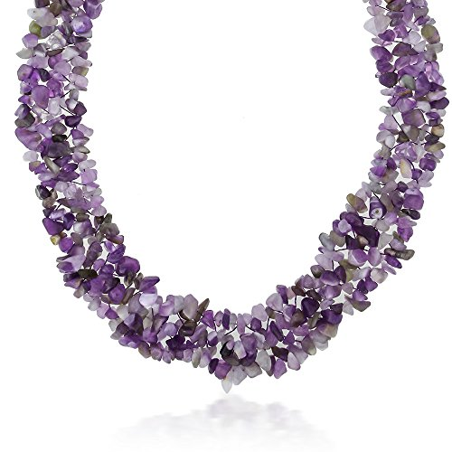 (Gem Stone King 18inches Multi Strands Amethyst Chips Cluster Necklace Gemstone Birthstone with Lobster Clasp)