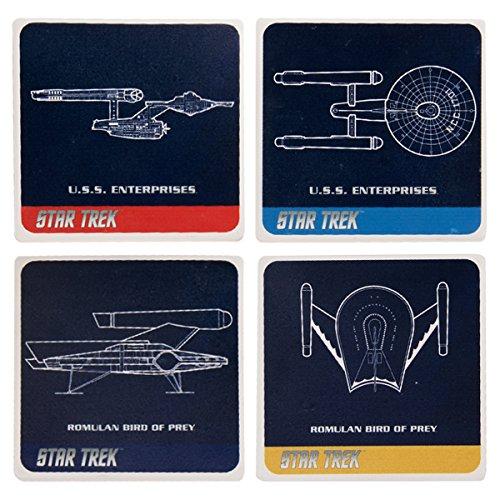Vandor 80285 Star Trek 4 Piece Ceramic Coaster Set, Multicolored - Multi Colored Ceramic