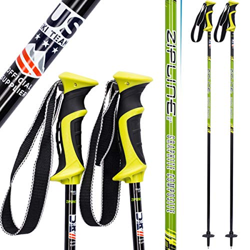Goode Carbon Ski Poles - Zipline Ski Poles Carbon Composite Graphite Lollipop U.S. Ski Team Official Ski Pole - Choose Color and Size (Green Apple, 40 in. / 102 cm)
